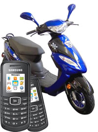 Bundle City Motorroller + 2 x Samsung E1080w