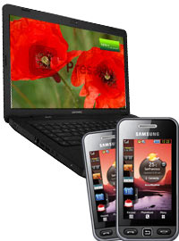 Bundle Notebook 40cm Windows 7 + 2x Samsung S5230 Star